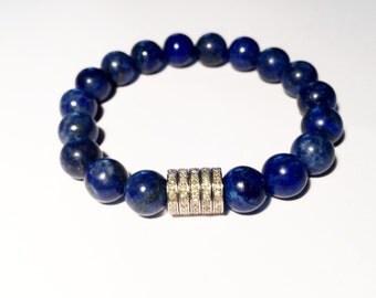 1,10 carat beaded diamond bracelet with lapis lazuli gemstones