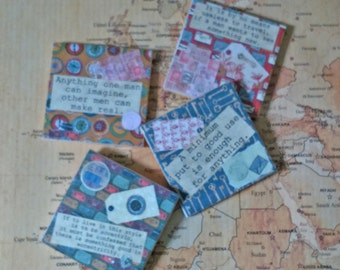 Around The World In 80 Days Coasters, Tile Coasters, Decoupaged Tiles, Decorative Coasters, Themed Coasters
