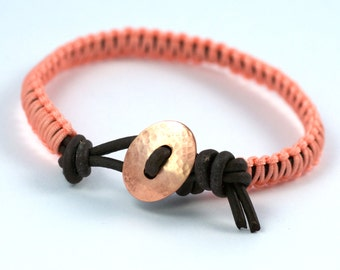 Peach Macrame and Leather Bracelet, Copper Button Clasp