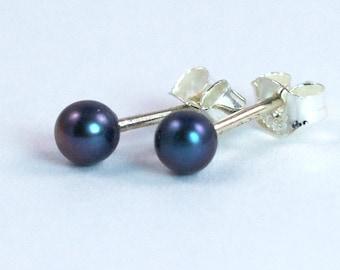 Black Pearl 3mm Sterling Silver Stud Earrings, Tiny Stud Earrings