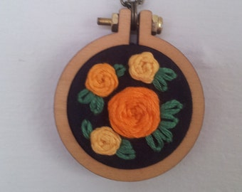 Mini Hoop Necklace with Yellow and Orange Rose Embroidery