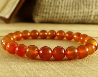 Carnelian Bracelet Orange Jewelry Minimalist Bracelet Carnelian Jewelry Orange Bracelet Everyday Jewelry Elastic Bracelet Yoga Jewelry