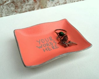 Personalised Colour and Message Trinket Jewellery Dish