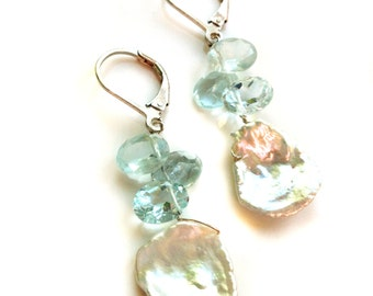 Aquamarine Earrings--Freshwater Pearl Earrings--Petal Pearl Earrings--Gemstone Earrings--Semi Precious