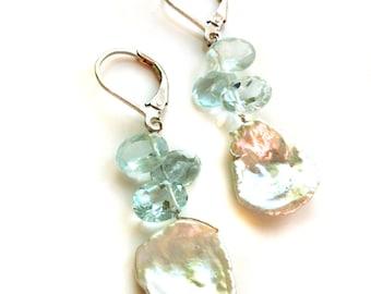 Aquamarine Earrings--Freshwater Pearl Earrings--Petal Pearl Earrings--Gemstone Earrings--Semi Precious