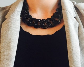 Bead Necklace, Black Turnlock Necklace, Statement Necklace, Bib Necklace