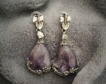 Amethyst earrings or agate and 'tears of Bacchus' vine leaf