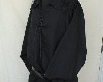 Men's Renaissance Shirt, Men's Pirate Shirt,Victorian Shirt ,Black Cotton Shirt