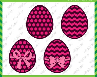 Easter Eggs Paterned with Bow Frames SVG DXF PNG eps Rabbit Monogram Cut Files for Cricut Design, Silhouette studio, Sure Cut Lot, Makes Cut