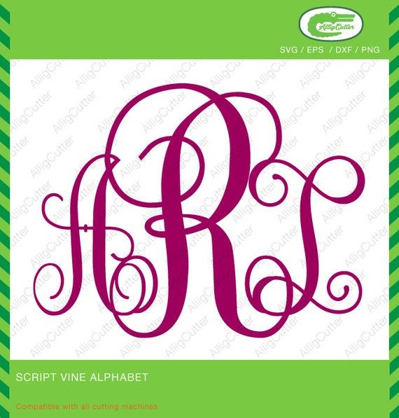 Script Vine Alphabet Monogram SVG DXF PNG Eps Font Cut