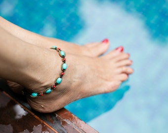 Turquoise And Coral Anklet, Fire And Ice Anklet, Beaded Anklet A-14