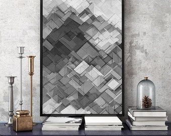 SALE - 50% Original abstract print, Black and White Wall Art PRINTABLE DOWNLOAD, large art print, digital print wall art.