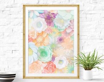 Printable art watercolor pastel print flower Printable art decor Colorful wall decor printable Autumn art Floral collage wall decor print