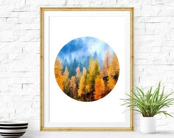 Forest Print, Forest Painting, Enchanted Forest, Autumn Print, Birch Tree Painting, Forest Art, Landscape Painting, Landscape Print, Boho