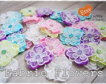 5 Fabric Flowers with gems, white, pale green, pink, teal and purple for cards, scrapbooking embellishment,cardmaking, handmade,pastel color