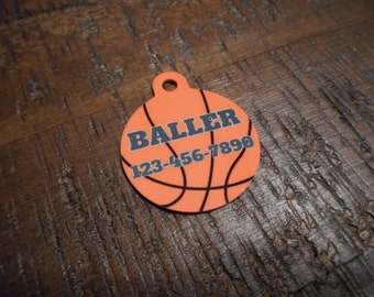 Pet Tags Personalized - Basketball / B-Ball / Baller / Hoops / Pet Tags / Dog Tags / Cat Tags / Dog ID Tags / Cat ID Tags / Pet Id Tags /