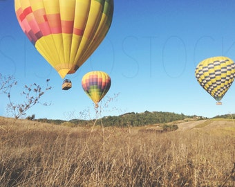 Styled Stock Photography for Blogs - Hot Air Balloon in Blue Sky -Balloons Landing - Product Photography - Digital Image - Balloon Stock