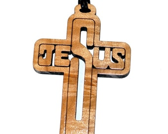 Jesus Cross Pendant, Solid maple Jesus necklace great for casual wear. Great gift idea,  Also great for your rear view mirror