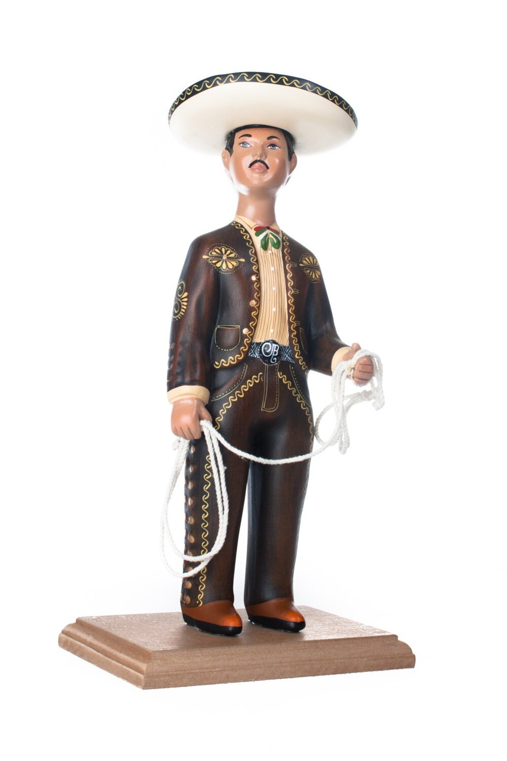 traditional mexican charro brown suit hand painted clay