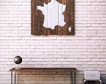 France Wood Map - Reclaimed Pallet Boards - Wood Sign - Carte de France sur Bois