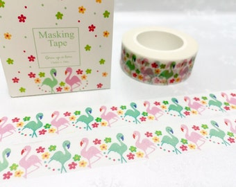 flamingo washi masking tape 10M dancing bird little bird pink bird green bird deco masking tape bird decor sticker tape gift wrapping