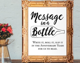 Wedding Guest Book Sign - Message in a bottle guest book - alternative guest book - PRINTABLE 8x10 - 5x7