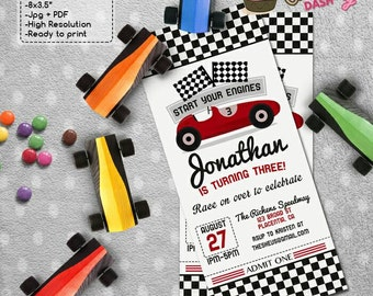 Red Racing Car Birthday Party Ticket invitations red race car DIY printable race car ticket invite