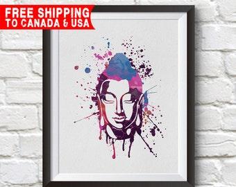 Buddha Art Print, Zen Meditation Poster, Buddhist Home Decor, Free shipping to canada & usa