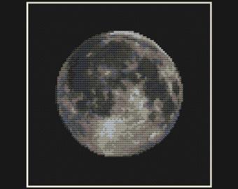 Moon Cross Stitch Pattern PDF - Planet Solar System