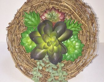 SALE - 50% OFF Succulent Wall Hanging, Succulent Arrangement, Artificial Succulent Planter, Vertical Garden, 3D Wall Art, Succulent Gift