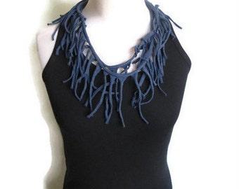 Festival Scarf, Cotton Scarf.Burning Man, Fringe Scarf, Necklace Scarf, Festival Clothing, Boho Scarf, Upcycled Scarf Tshirt Blue Jersey