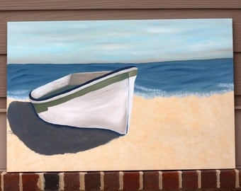 White Boat on Beach: Original Acrylic Painting on Stretched Canvas, 24x36 inches