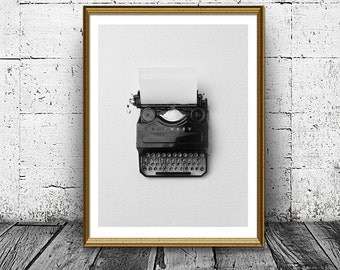 Typewriter Print, Writer Print, Abstract Print, Black White Print, Wall Art, Printable, Home Decor, Last Minute Housewarming gift