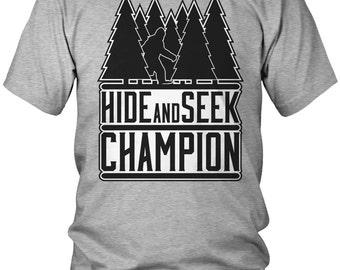 Hide and Seek Champion - Bigfoot Men's T-Shirt, Outdoors, Sasquatch, Funny Men's Hide and Seek Tee, AMD_2276