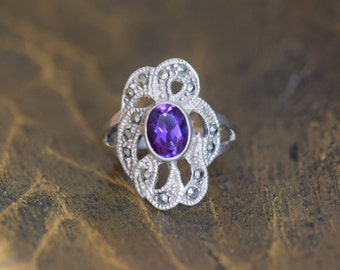 Gorgeous Purple and Hematite Gemstone Vintage Silver 925 Ring, US Size 8.0, Used