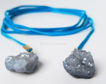 Turquoise Genuine Suede Natural Druzy Crystal Wrap Choker Minimalist Lariat Necklace