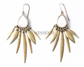 Statement Earrings | Mother of Pearl Earrings | Antique Gold Earrings | Bohemian Earrings | Gold Statement | Boho Earrings | Spike Earrings