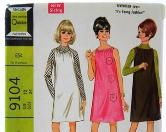 Vintage 60s McCalls 9104 Sewing Pattern Size 12 Shift Dress Jumper Hip Mod Retro