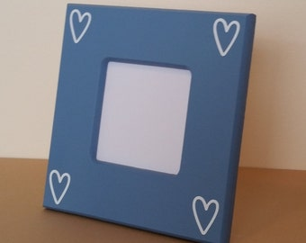 small picture frame, blue picture frame, wood picture frame custom picture frame heart picture frame white picture frame 4 x 6 picture frame