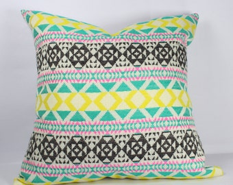 Geometric pillow cover 12x16 pillow cover 20x20 inch pillow cover 18x18 yellow black green multi color throw sofa pillows pillow cover 26x26