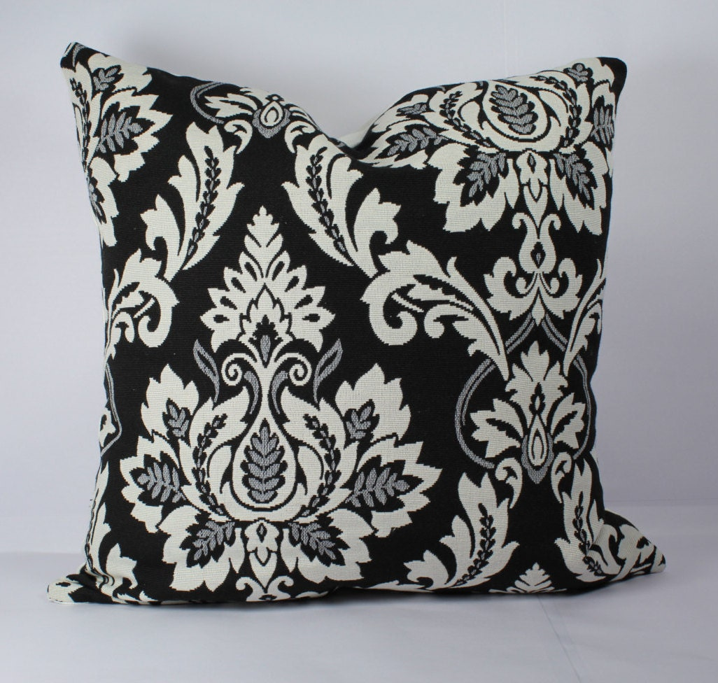 Black Decorative Pillow Cases : Damask pillow black white pillow throw covers pillow cases