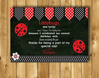 Ladybug Thank You Cards, Ladybug Birthday Party Ladybug Birthday Thank You Card Ladybug Party Lady Bug Thank You Card DIGITAL 4x6