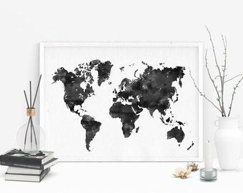Black watercolor world map, Large printable map of world, Watercolor print, World map printable poster, Doorm art, Office decor
