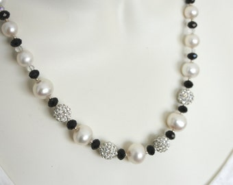 Freshwater Pearl and Austrian Crystal Necklace with Sterling Silver Beads and Clasp