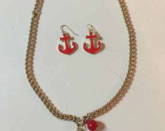 Red Anchor Necklace & Earrings Set