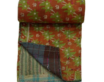 Indian Traditional Cotton Blanket, Ethnic Floral Print Twin Size Bedspread, Vintage Kantha Throw