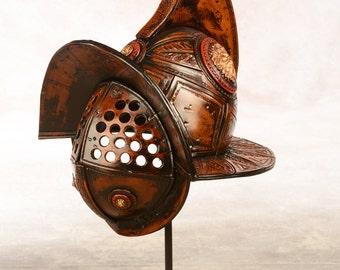 Gladiator hand made leather helmet