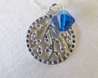 """Sterling Silver Necklace with  Swarovski Sapphire Cherry Blossom Charm Necklace Blue Crystal  Accent, 16"""", SN-111"""