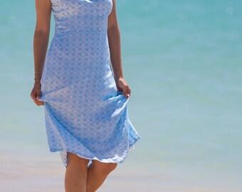 Cap Sleeve Dress, Summer Dress, Casual Dress, A-Line Dress, Blue Dress, 100-107