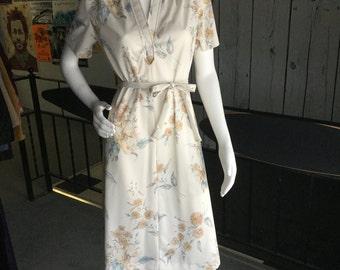 Vintage 70s cream floral day dress